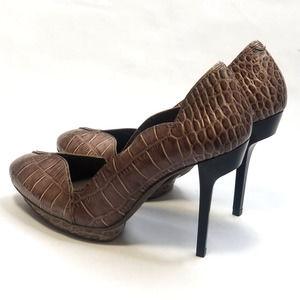 Bcbgmaxazria Croc Leather Scalloped Pump